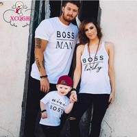 Family Matching Clothes MiniBoss White T-shirt Or Baby Romper Family Matching Outfit Family Clothing Mother Daughter Clothes