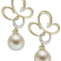 14k Gold Earrings, Cultured Freshwater Pearl and Diamond Accent Earrings (7mm) - Earrings - Jewelry & Watches - Macy's