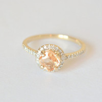 0.85 carat Orange peach champagne sapphire, Yellow gold, diamonds halo engagement ring  886P