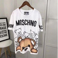 Moschino Summer Classic Cute Bear Full Body Letter Print Loose Couple Short Sleeve T-Shirt