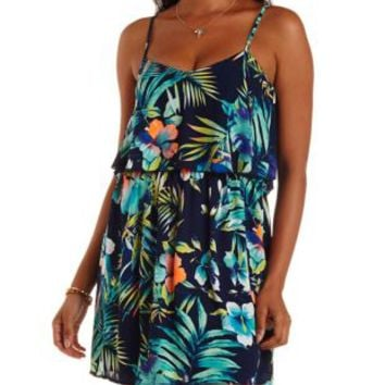 Navy Combo Tropical Print Flounce Dress by Charlotte Russe