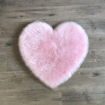 Machine Washable Faux Sheepskin Heart Cotton Candy Pink Area Rug