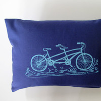 Pillow Cover  Tandem Bike on Navy Blue Kona by sweetnaturedesigns