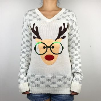 Kawaii Sequin Glasses Rudolph the Red Nose Reindeer Ugly Christmas Sweater for Women Cute Girl Ladies Xmas Pullover Jumper S-3XL