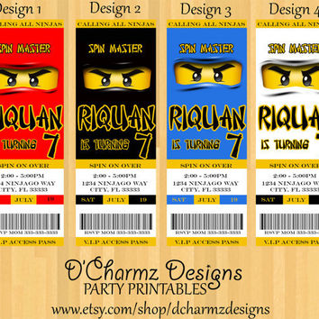 Ninjago Party Invitation (Ticket Style)