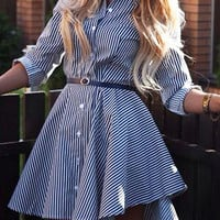 Blue Striped Long Sleeve Midi Dress