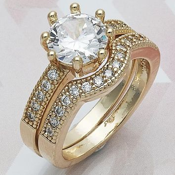 Gold Layered Women Duo Wedding Ring, with White Cubic Zirconia, by Folks Jewelry