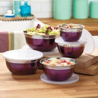 10 Piece Stainless Steel Mix & Storage Bowl Set, Mixing Bowls with Lids, Purple