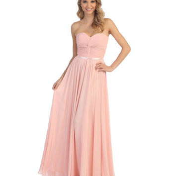 Blush Strapless Chiffon Sweetheart Corset Gown 2015 Homecoming Dresses