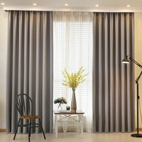 Natural cotton linen velvet blackout curtains for living room (grey and 8 colors)