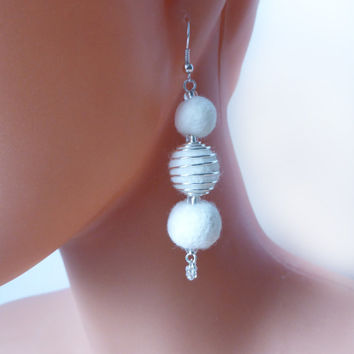 White wedding earrings, hand felted with love, white felt balls, beads,eco-frienly,classic jewelry for woman, creamy white, ivory