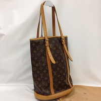 Auth Louis Vuitton Monogram Bucket GM Shoulder Bag Brown 8A190080#