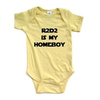 "Apericots ""R2D2 is My Homeboy"" Star Wars Starwars Inspired Short Sleeve Baby Bodysuit"