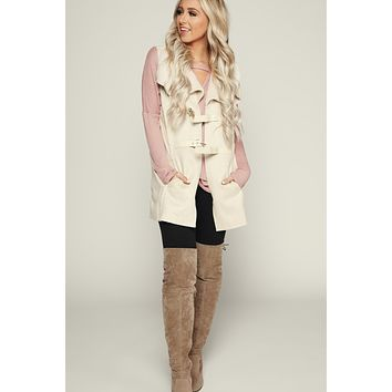 Are You Fureal Faux Suede Vest (Cream)