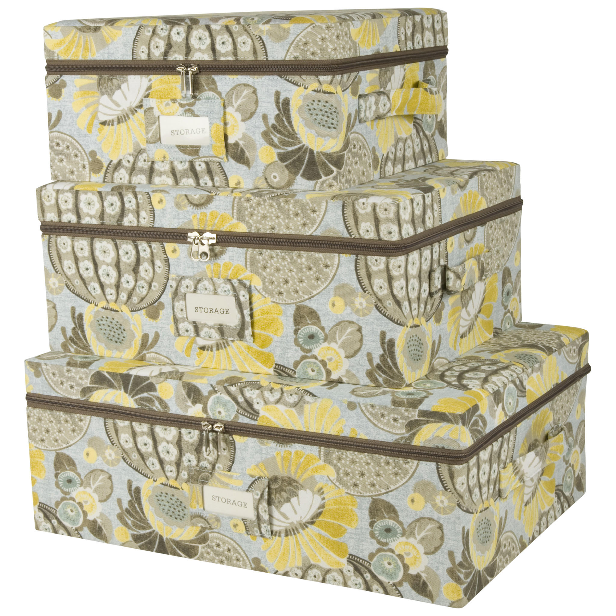 Decorative Boxes Storage: Set Of Three Canvas Storage From Light Accents