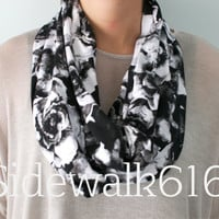 Black and White Rose Print Knit Infinity Scarf