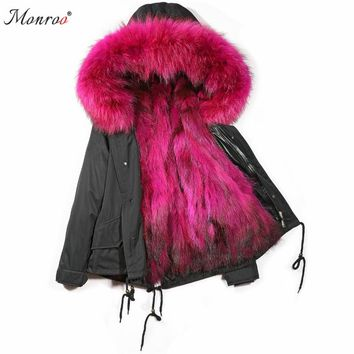 Women Winter Natural Large Fur Collar Hood Fur Jacket Parka Coat Ladies Real Raccoon Fox Fur Lining Hooded Jackets Coats Parkas