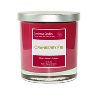 Soy Candle - Cranberry Fig Scented - 8 oz Rock Glass Jar Candle with Brushed Metal Lid