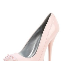 Qupid Neutral-284x Pink Glitter Spiked Cap Toe Pump and Shop Shoes at MakeMeChic.com