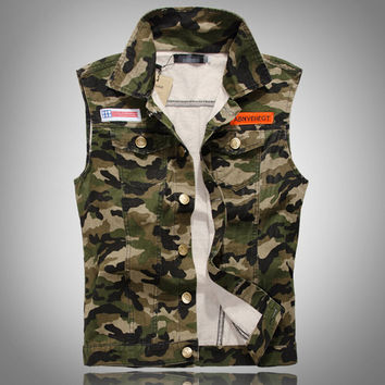 Men's Casual Retro Slim Fit Sleeveless Denim Vest Outwear Camouflage