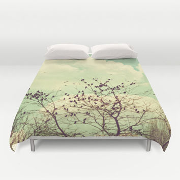 Art Duvet Cover Birds of a Feather photography home decor photograph mint green sky photo vintage nature bedding full queen king bedroom
