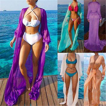 DCCKL6D GLANE Brief Hot Newest 2017 Swimwear Women Beach Dress Cover Up Kaftan Chiffon Sarong Summer Wear Swim Bikini Summer Russia USA