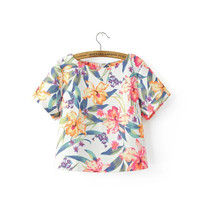 women sweet jacquard floral shirts short sleeve crop tops o-neck back zipper ladies summer fashion casual blouse DT654