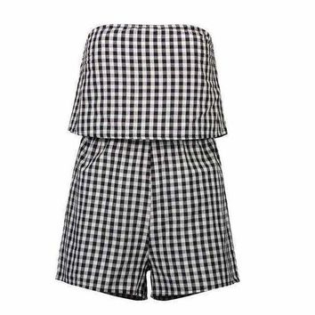 VONE05F8 strapless macacao feminino playsuits off shoulder bodycon plaid cotton Elegant plus size loose backless Women jumpsuits