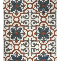 Dynamic Rugs Casual Rust/Blue Global Rectangle Area Rug