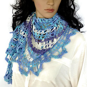 Outlander Claire Shawl Wrap Scarf Scottish Ocean Blue Lavender Purple White Summer Spring Diana Gabaldon Jamie  Lace FREE SHIPPING