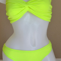 Neon green spandex bikini top & bottom swimsuit bathing suit swimwear brazilian bottom