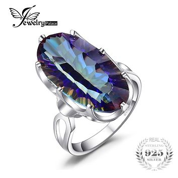 JewelryPalace 11.8ct Concave Genuine Mystic Blue Rainbow Topaz Cocktail Ring For Women 925 Sterling Silver Fashion Party Gift