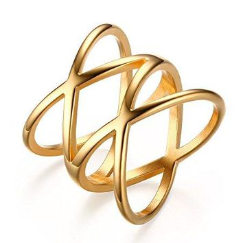 Mealguet Stainless Steel Gold Plated Double X Criss Cross Statement Ring for Women