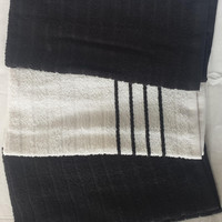 """Naturally Home 100% Cotton Kitchen Towel 3 Pack (15"""" x 25"""" Each) - Black/White"""