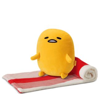 "Sanrio Gudetama Family Mart Limited Bacon Egg Ver 14"" Plush Doll Blanket"