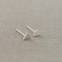 Triangle sterling silver earrings,tiny triangle earrings,simple  earrings,silver earring studs