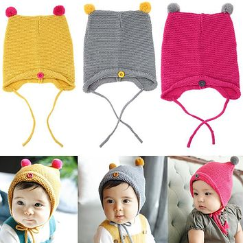 Fashion Autumn Winter Warm Baby Hat Infant Toddler Kids Knitted Beanie Caps Newborn Girl Boy Photo Props Lovely Baby Skullies