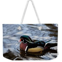 Colorful Forest Jewel - A Wood Duck In A Secluded Lake Weekender Tote Bag