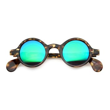 Retro Mod Color Flash Mirror Lens Small Horn Rimmed Round Sunglasses
