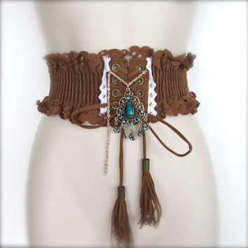 Bohemian Suede Belt / Vintage Woman Boho Hip Belt / Brown Bohemian Belt / Hip Belt for Dress.