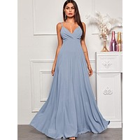 Solid Surplice Front Maxi Cami Dress