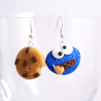 COOKIE MONSTER with chocolate COOKIE cute and delicious polymer clay earrings