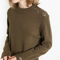 Olive Eyelet Bar Button Sweater