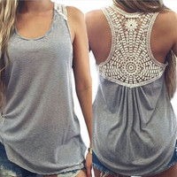 womens sleeveless lace t-shirts tee fashion casual tank top vest gift 106