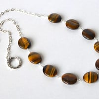 Natural Tiger Eye Necklace, Brown and Black Gemstone Jewelry, Sterling Silver Chain, Toggle Clasp. Ready to ship.