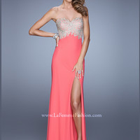 Sweetheart Metallic Embroidered With High Slit La Femme Prom Dress 21113