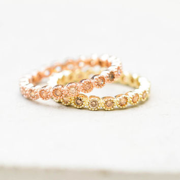 Bezel Eternity Band Set - Champagne
