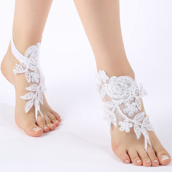 Free Ship white  barefoot sandals, flexible ankle sandals,  laceBarefoot Sandals, french lace, Beach wedding barefoot sandals