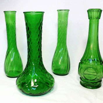 Vintage Emerald Green Bud Vases/Green Bulls Eye Glass/Flower Vase/Diamond Cut Glass Vase/Swirl Flower Vases/Wheaton Vase/Wedding Decor (4)