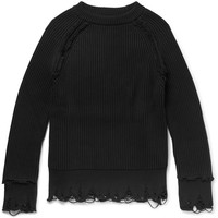 Haider Ackermann - Distressed Cotton and Cashmere-Blend Sweater
